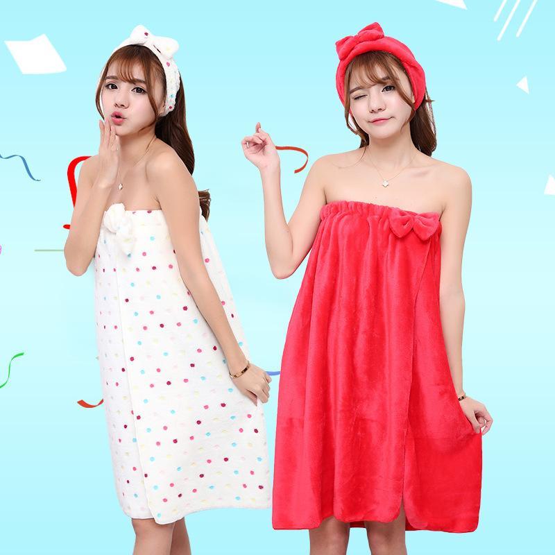 80a705348b Drop Shipping Women Absorbent Microfiber Wrap Bath Towel + Headband Tube  Top Bow Bath Dress Shower Sauna Spa Body Skirt Fingertip Towels Embroidered  Towels ...