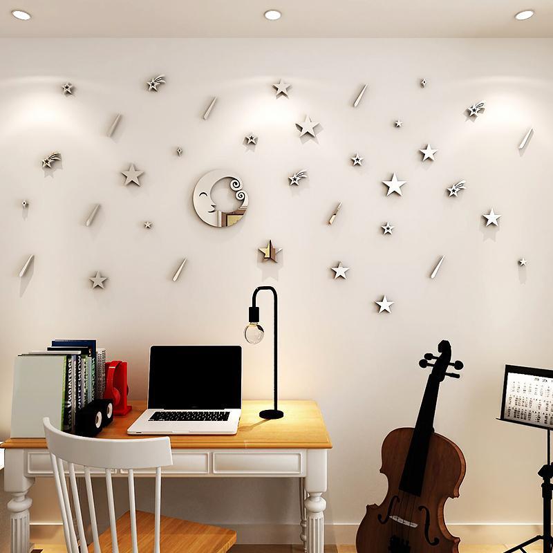Cartoon cielo stellato Adesivi murali specchio Per camera dei bambini  soggiorno fai da te arte decorazione della parete Camera da letto Meteor ...