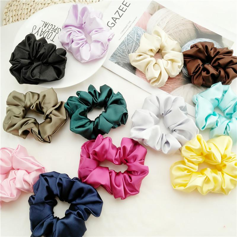 Fashion Women Faux Silk Solid Scrunchies Lady Simple Elastic Headbands Satin Hairbands Girls Hair Tie Hair Rope Accessories