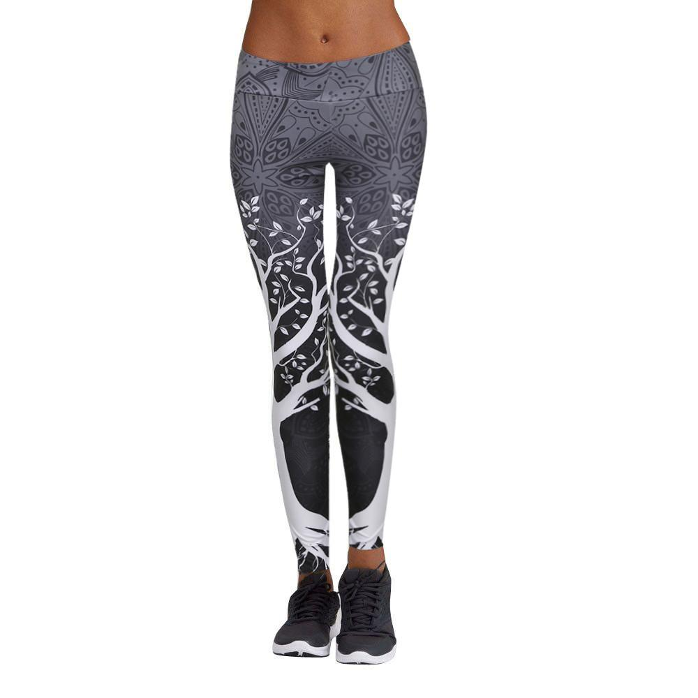 Print Yoga Pants Women Unique Fitness Leggings Workout Sports Running Leggings Sexy Push Up Gym Wear Elastic Slim Pants#G