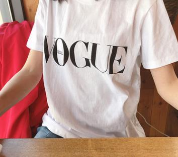 VOGUE Letters Basic Tshirts Women Seoul Casual Simple Basic 19ss Short Sleeved Tees Tops