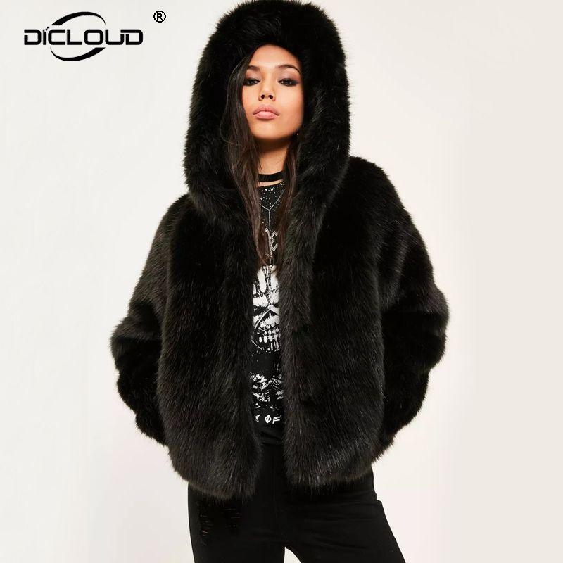 online store 07465 b0777 Giacche invernali donna con cappuccio in pelliccia sintetica addensare tuta  sportiva calda soprabito donne giacche in pelliccia di volpe lanuginosa 10  ...