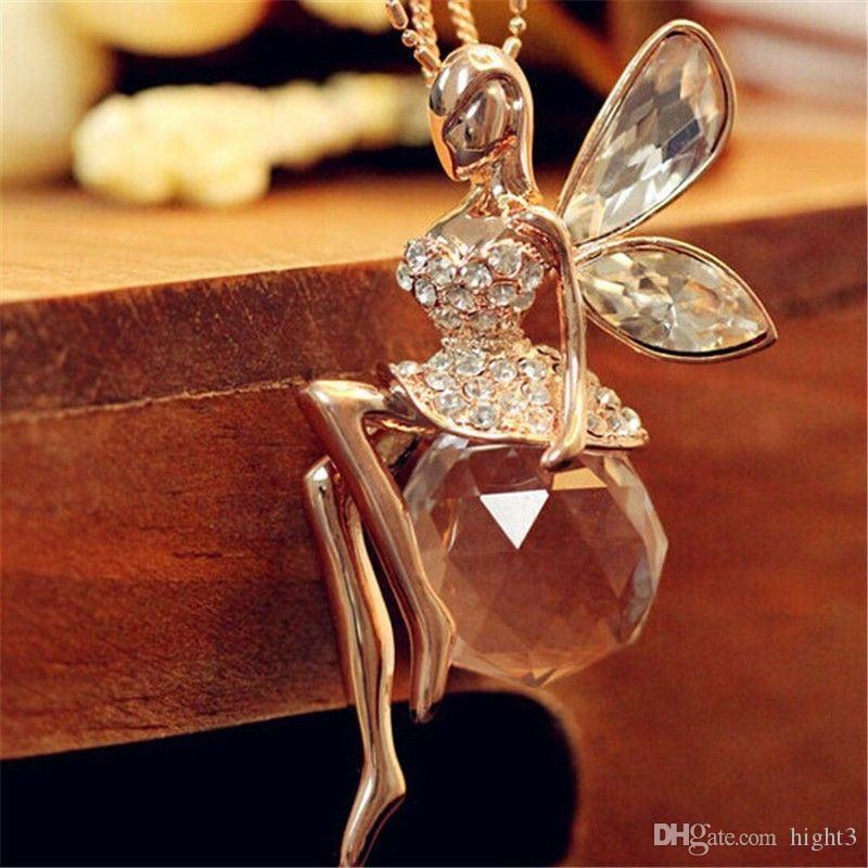 4b96ec9d9 Fashion Women Jewelry Crystal Angel Wings Gold Color Long Chain ...