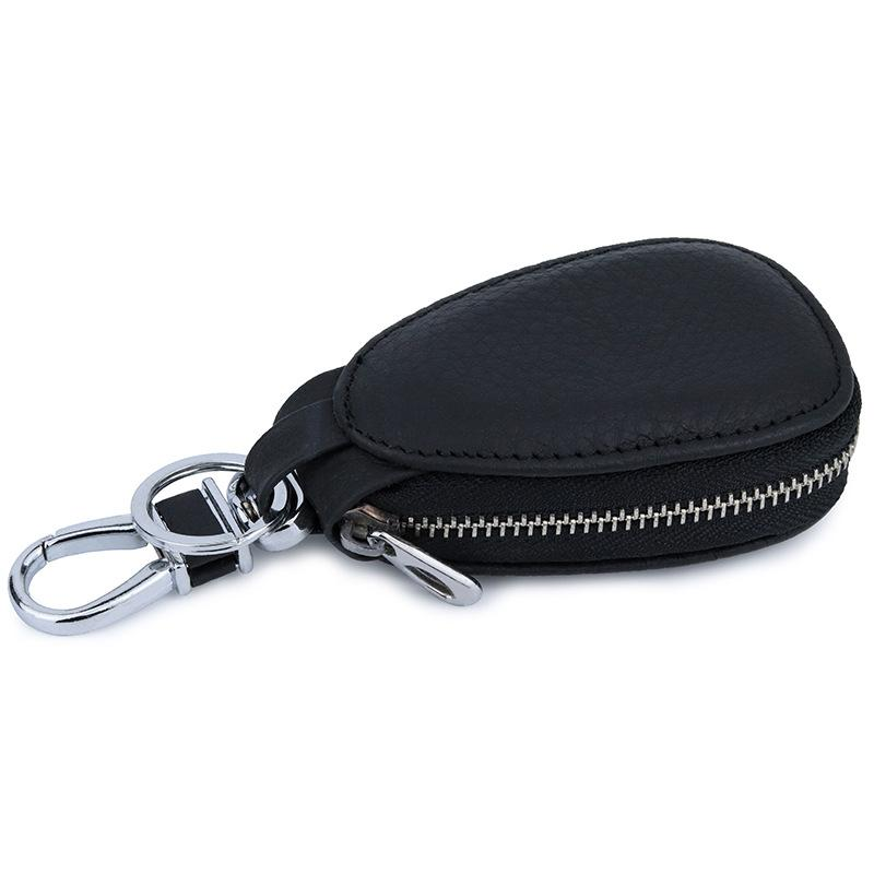 cf9a1b3a8dc0 Fashion Men Women Genuine Leather Black Mini Coin Purse Keychain Pouch Car  Key Holder Clip Wallets Case Covers Bags Housekeeper