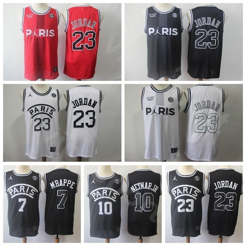 competitive price e65a8 56c15 New Paris PSG AJ Jerseys Saint Germain Basketball 23 Michael 7 Kylian  Mbappe 10 JR Black White Red Stitched Quality Good For Mens