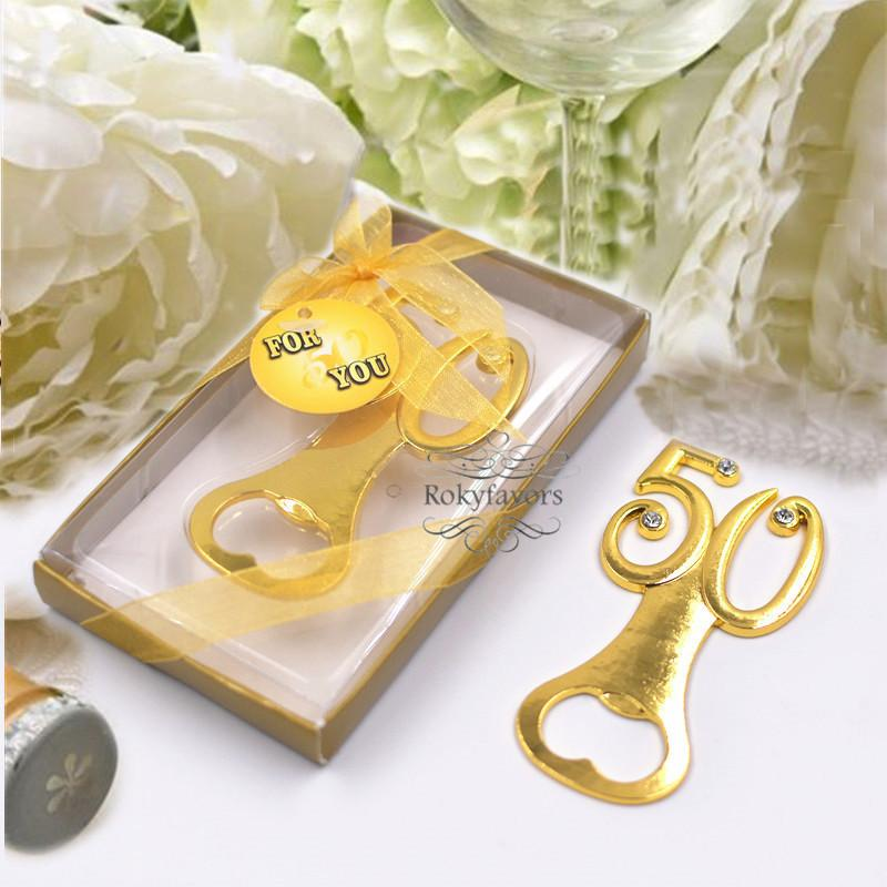 50th Golden Bottle Opener Wedding Favors Anniversary Party Birthday Gifts Supplies Event Keepsakes Nautical Neat