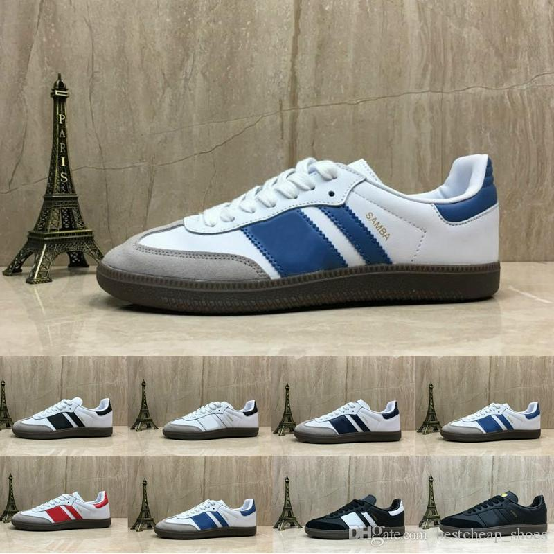 New Samba Trainers Mens Running Shoes Fashion Designer Brand Leather  Gazelle Og Black White Pink Men Runner Womens Sneakers Sports Shoes UK 2019  From ... fd22a54e6