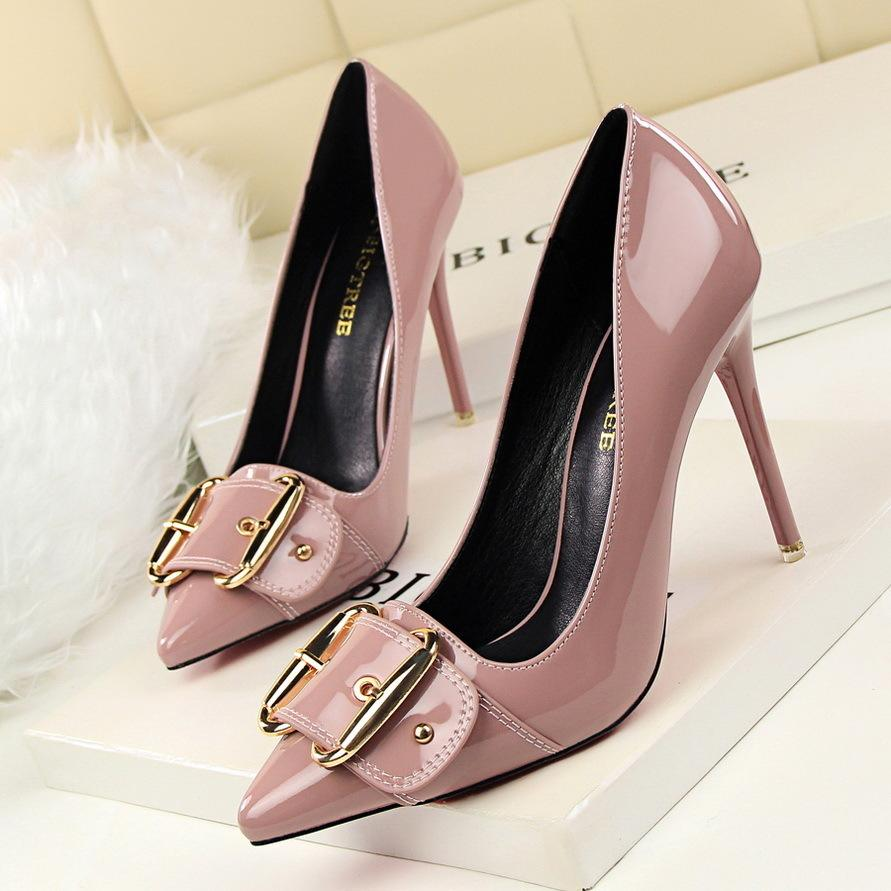 23fef1339441 Dress Women Pumps 2019 Simple Sexy Slim Stiletto High Heel Shallow Mouth  Pointed Patent Leather Metal Belt Buckle Women S Shoes Comfortable Shoes  Slip On ...