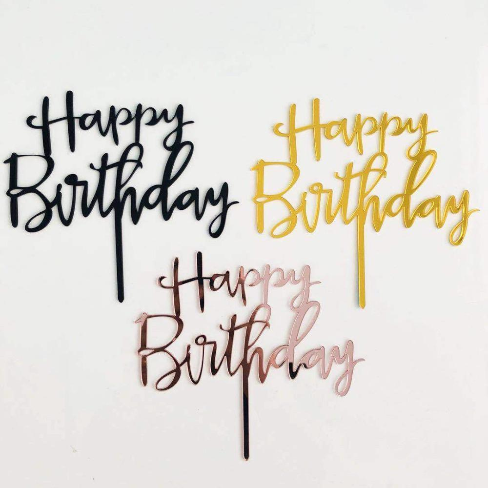 Grosshandel Rose Gold Happy Birthday Cake Topper Aggreko Kuchen