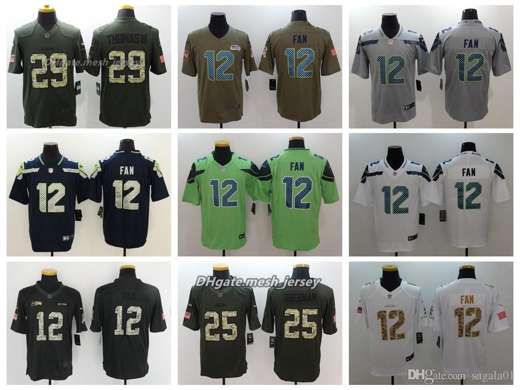Men Seattle Jersey Seahawks 25 Richard Sherman 31 Kam Chancellor 12s 29  Earl Thomas Color Rush Football Stitching Jerseys Embroidery New Shorts New  Jersey ... 450135c39