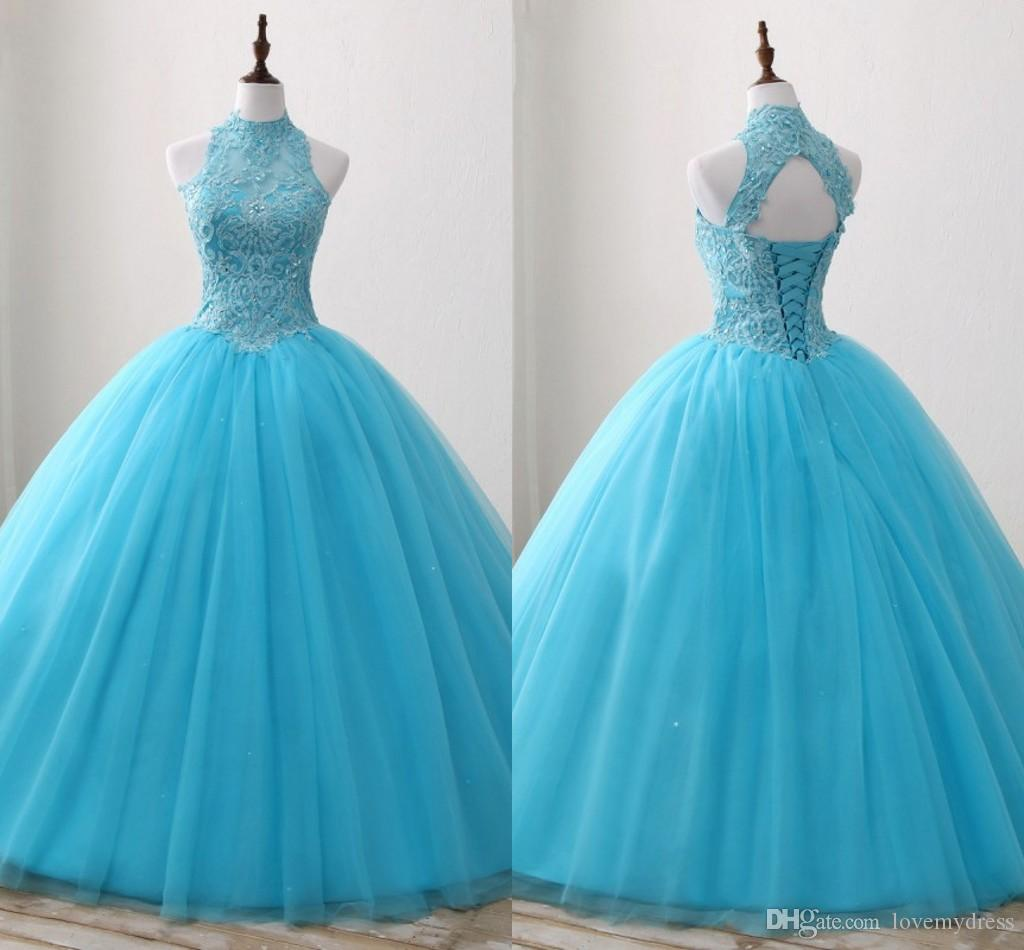 e18b5d1bb0a Turquoise Embroidered Beaded Quinceanera Dresses High Neck Lace Up Tulle  Sequins Sweet 16 Dress Ball Gowns Prom Dress Party Graduation Gown Pretty  ...