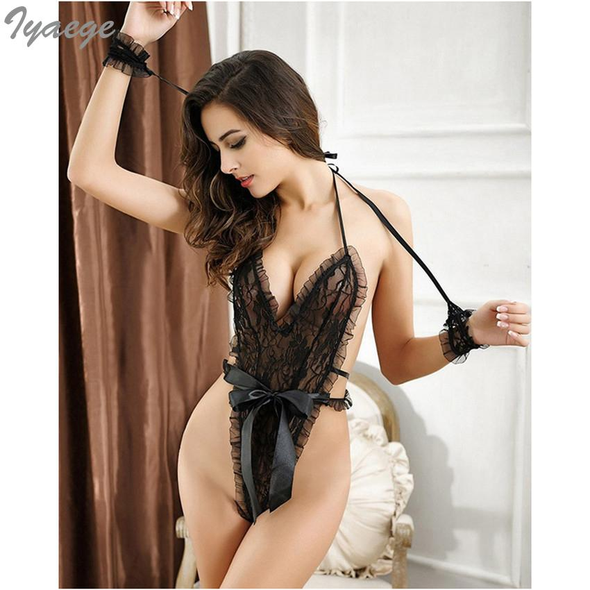 Moda Sedutora das Mulheres G-String Conjuntos Exotic Teddy Underwear Bodysuit Lace Nightwear Trajes Patchwork Sexy Lingerie Set