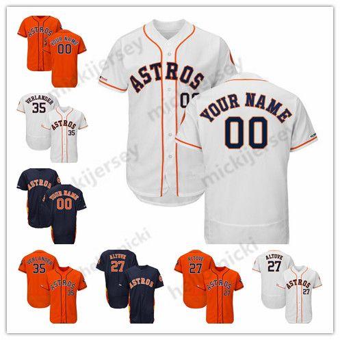 separation shoes c8dba 3e2c9 Custom 2019 Houston Astros 35 Justin Verlander 2 Alex Bregman 27 Jose  Altuve Stitched baseball Jersey All Sewn Embroidered Jerseys