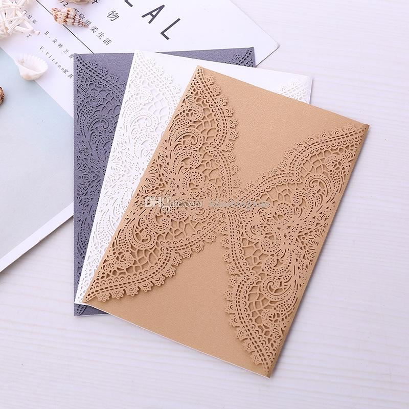 20+Color Customized Pearl Lace Laser Cut Wedding Invites Cover, Invitations Covers for Engagement Bridal Shower Graduation