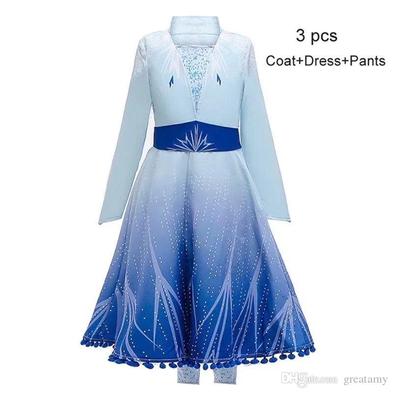 Snow queen II baby girls Costume Dress+pant+coat 3pcs clothing set long cape X'mas Children Outfit Kid dress up Disguise Party Frock clothes