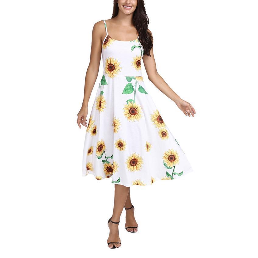 74f9da3d8 Compre Elegante Vestido Floral De Las Mujeres Ropa 2019 Una Línea Sin  Mangas Lindo Cuello Cuadrado Girasol Impresos Para Mujer Vestidos Vestidos  Mujer A ...