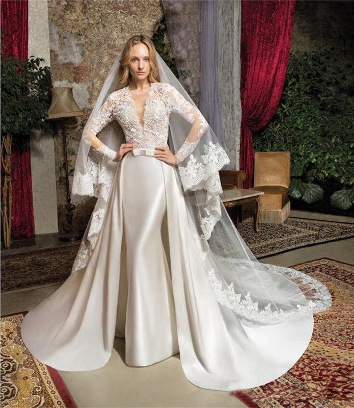 Satin Mermaid Wedding Gown: Vestido De Noiva Mermaid Satin Lace Wedding Gowns 2018