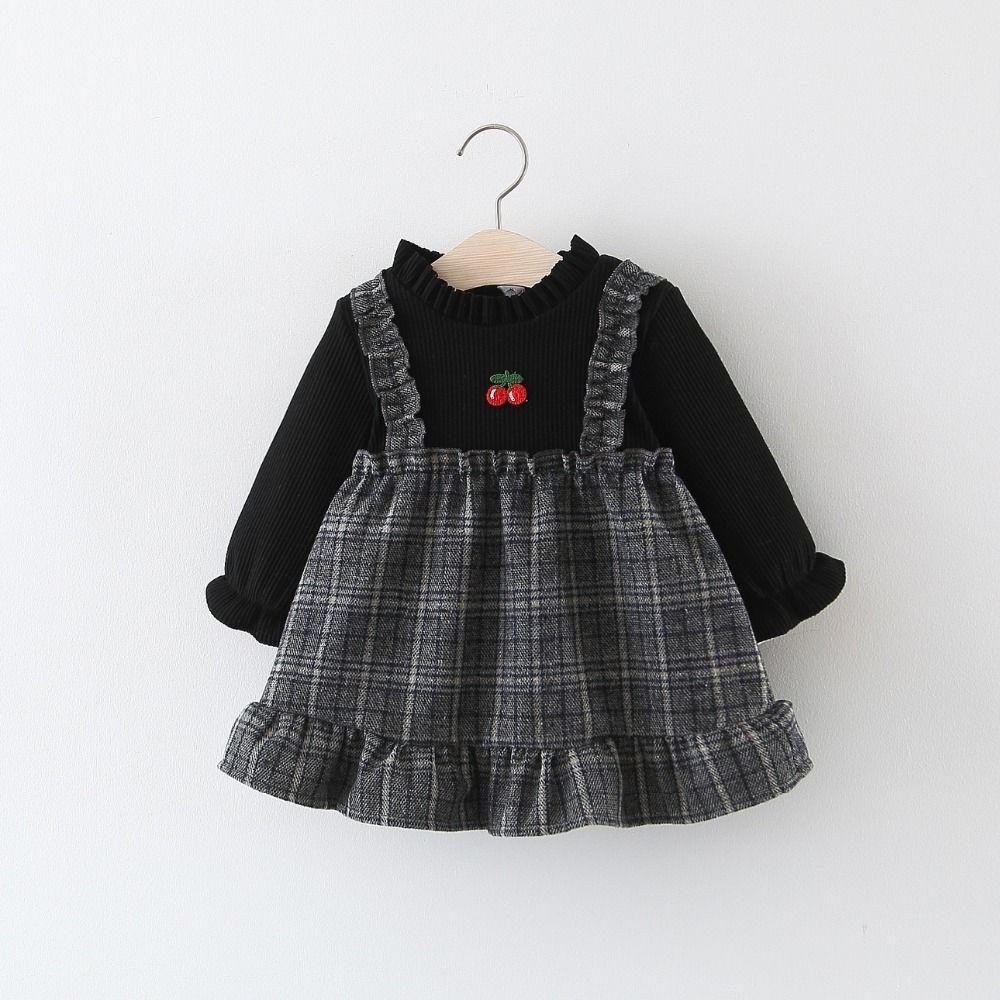 1b6f5d172 BibiCloa Baby Girls más terciopelo a cuadros vestido invierno cálido  espesar vestidos todder niña volantes moda vestido para bebé