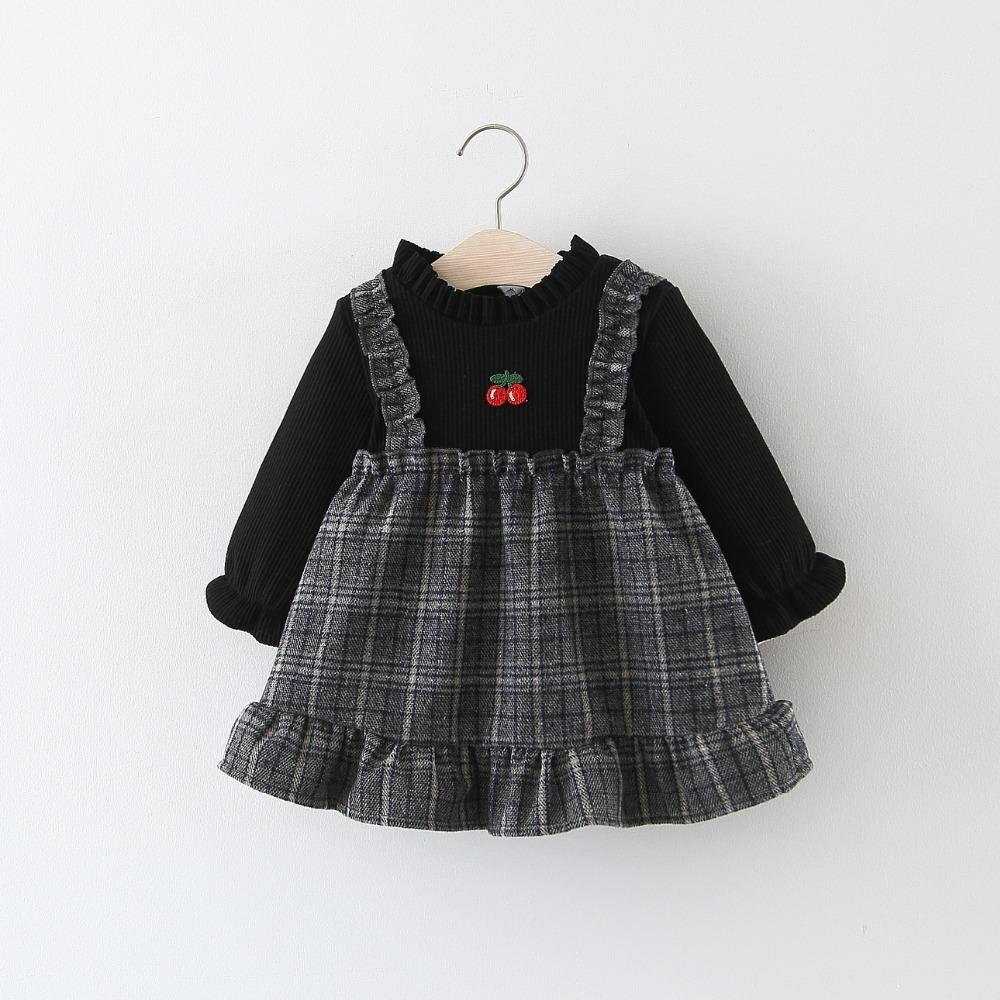 17aaf08ab789a BibiCloa Baby Girls plus velvet plaid dress kids winter warm thicken  dresses todder girl ruffles fashion dress for baby