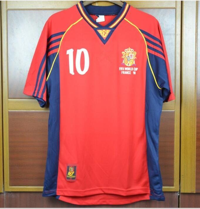online store 783cc b89c3 1998 Spain Soccer Jerseys world cup RAUL Xavi Puyol Torres Hierro Morientes  02 Spain vintage Football Shirts
