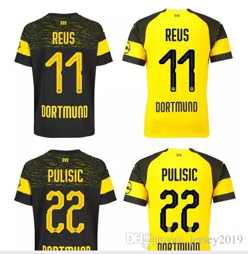 ead8b6b74aeb7 2018 19 Top   11 REUS Inicio Camiseta De Fútbol Amarilla Camiseta De Fútbol  Personalizada   22 PULISIC   44 BATSHUAYI   10 M.GOTZE Club Del Equipo  Uniforme ...