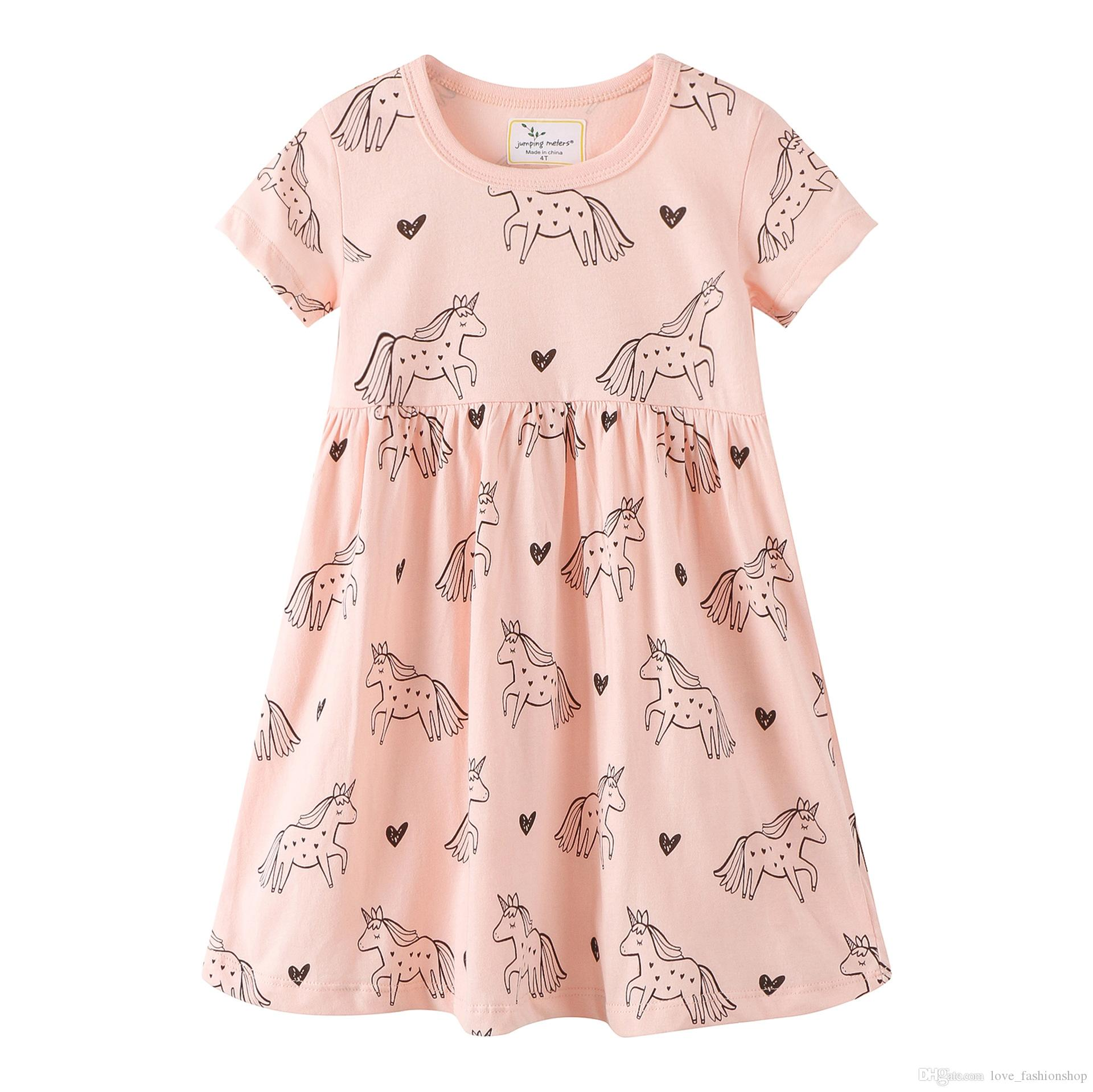 caf362fba 2019 2019 New Girls Unicorn Printed Dress Summer Baby Kids Horse ...