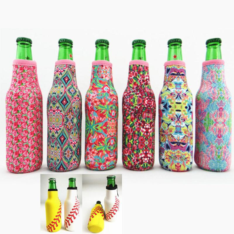 Wine Cover Bottle Wrap Neoprene Beer Cooler Baseball Jewel Coral Rose Mucho Printing Can Cover Bags Utensili da cucina 330ML