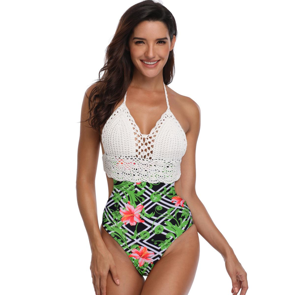 899745663f04 Mujeres Sexy de una sola pieza de cintura alta Bikini Flores de encaje de  impresión traje de baño traje de baño ropa de playa floral de punto bikini  ...