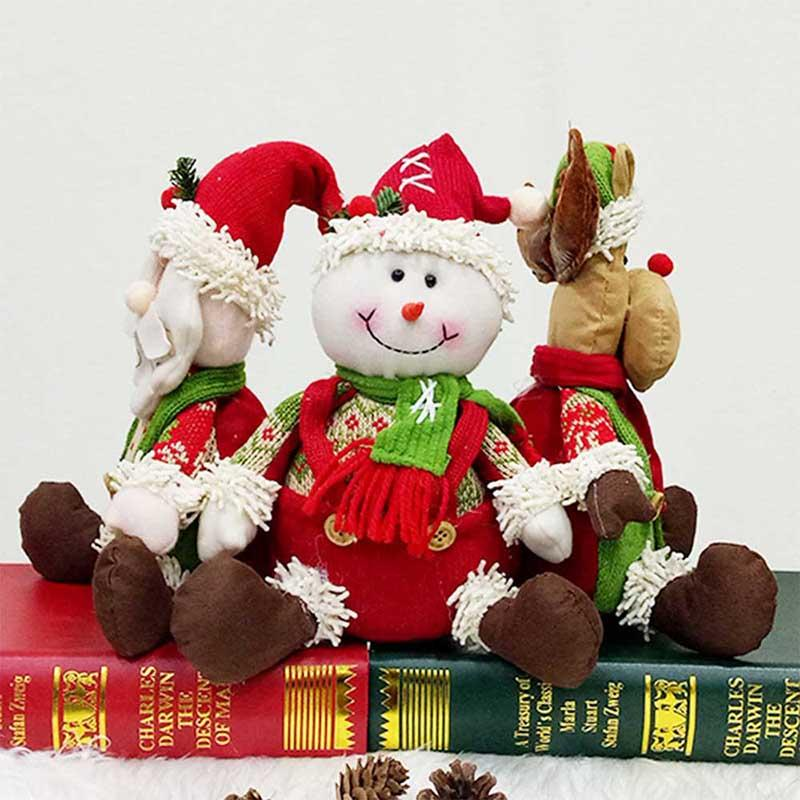 Merry Christmas Ornaments Gift Santa Claus Snowman Reindeer Cloth Toy Doll New Year Holiday Decoration Pendant Children Presents