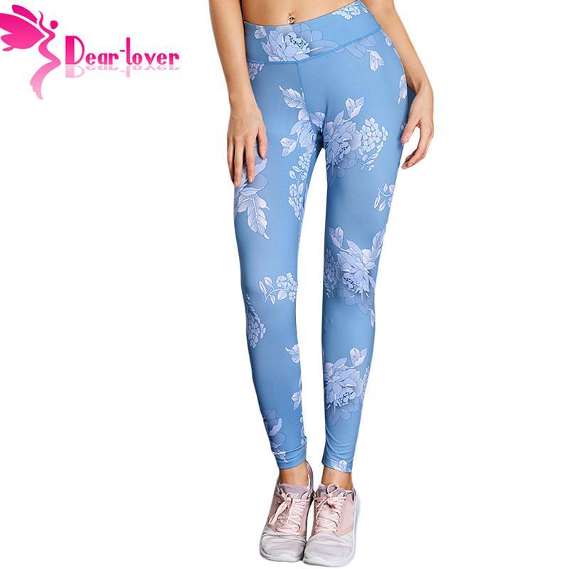 5ef46ef4e8 2019 Dear Lover Blue Printed High Elastic Fitness Leggings Slim ...