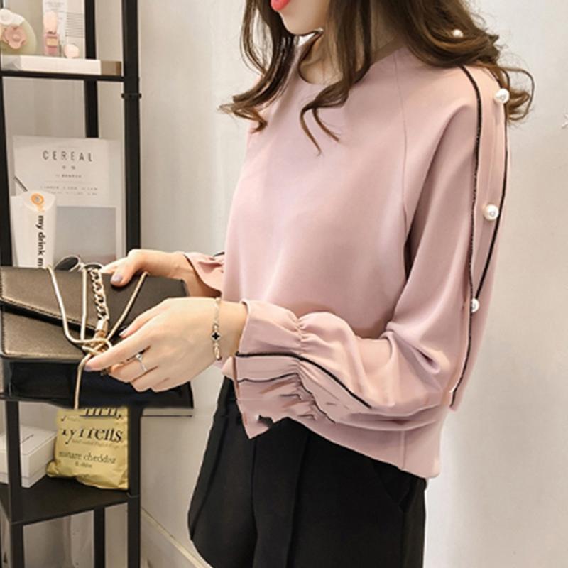 192dfbe07c Compre Plus Size Camisa Chiffon Feminino 2019 Blusa Frisada Tops Outono De  Manga Comprida Cor Sólida Mulheres Blusa Roupas Femininas De Jamie18