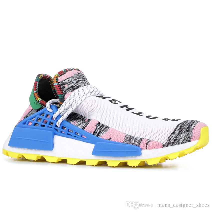 1b9cb86126ec0 2019 PW Hu Holi Trail X Human Race Pharrell Williams Mens Running Shoes  Youth Peace Creme Nerd BBC Solar Pack Womens Trainers Sports Sneakers From  ...