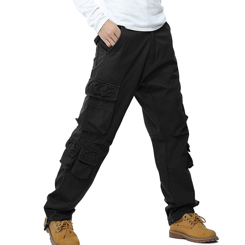 Mens Military Cargo Pants Solid Breathable Winter Thick Warm Multi Pocket Long Trouser Hot Sale Spliced Pantalon Homme
