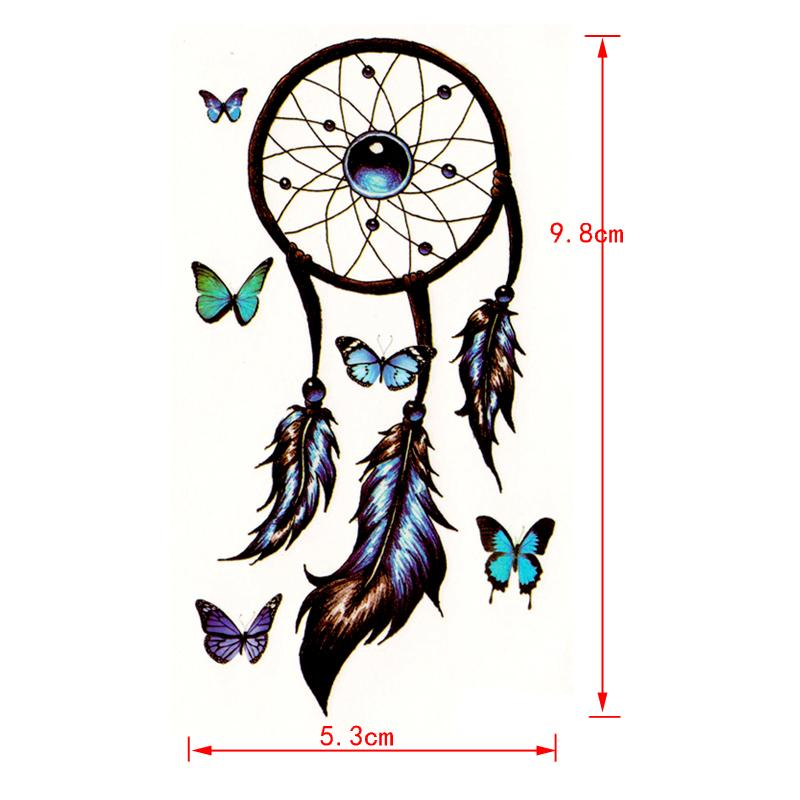 Romantic Dreamcatcher waterproof Temporary Tattoos men Feather Decals Tattoo Body Art butterfly temporary tatoo tatouage