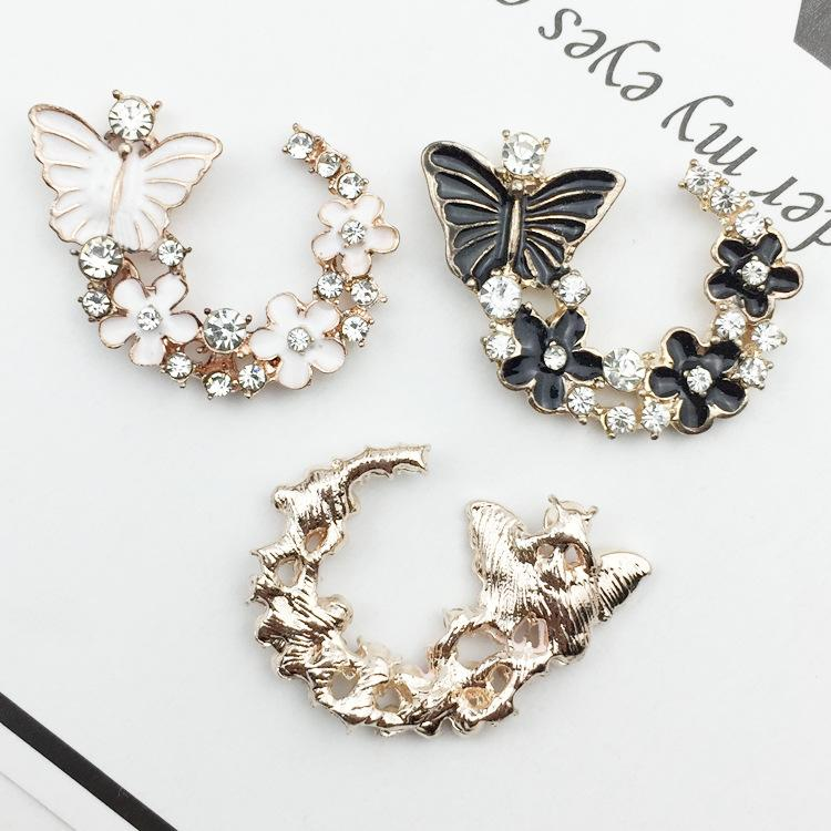 10pc Diy jewelry accessories for diy gift box with butterfly arc alloy disc diamond buckle and drip oil Alloy parts