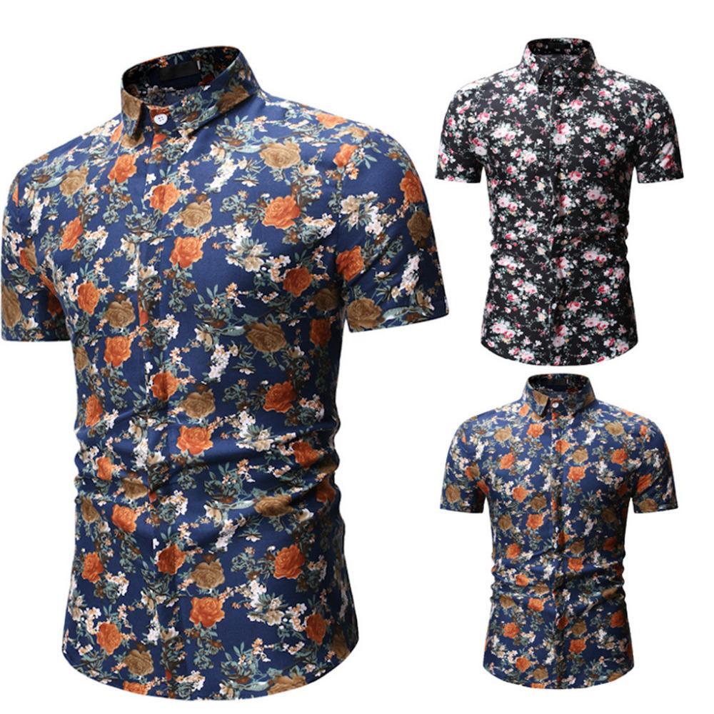 dd8c5a43a 2019 2019 New Style Hot SalesMens Fashion Summer Hawaiian Floral Print  Short Sleeve Shirt Flower Shirt Tops High Quality Sell Well From Xiatian6