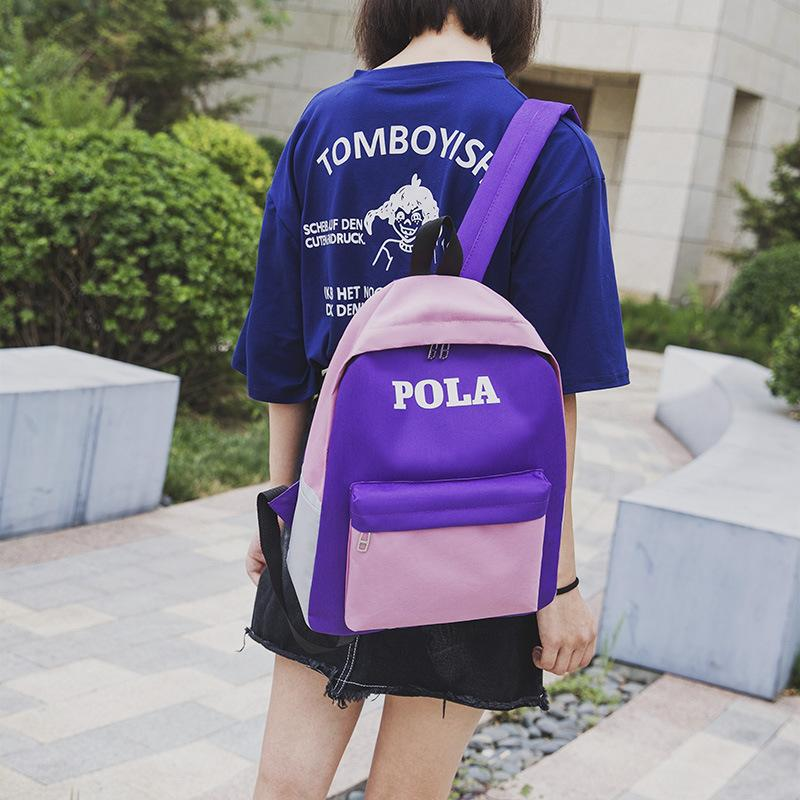 Lucky2019 Feng Xia Fan Student Men And Women Outdoors Backpack Leisure Time Hit Color Letter Both Shoulders