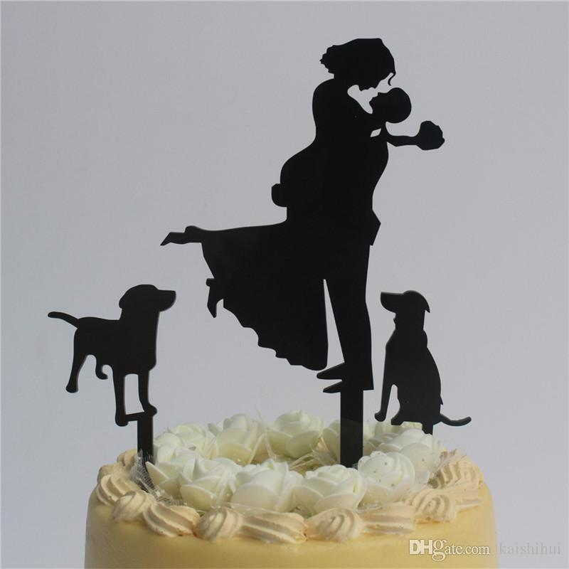 d16dd68795ccd3 2019 Bride And Groom With 2 Dogs Silhouette Wedding Cake Topper Wedding  Gift From Kaishihui, $16.11 | DHgate.Com