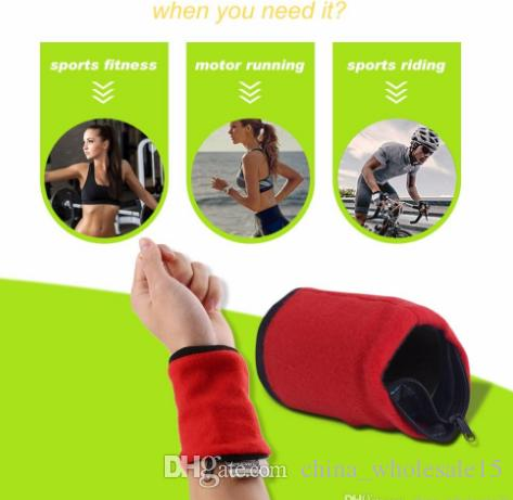 free shipping Wallet Wrist Band Fleece Zipper Travel Gym Cycling Sport Wallet Sweat Absorbtion Travel Sport Wrist Wallet Hiking Accessories