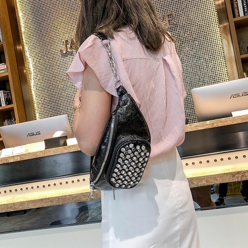 192ea89c33f1 Female Waist Bag New Chic Fashion Rivet Chest Bag All-match Shoulder ...