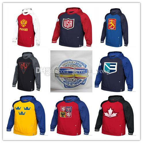 84dd234ff02 2019 Men'S 2016 World Cup Of Hockey WCH Hoodies Team USA Czech Republic  Europe Finland North America Russia Sweden Sweatshirts Jersey Women Youth  From ...