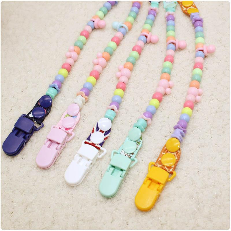 Ins name color beads with solid Grosgrain pacifier clips pacifier holders chain dummy clip /Teethers clip for baby A7162