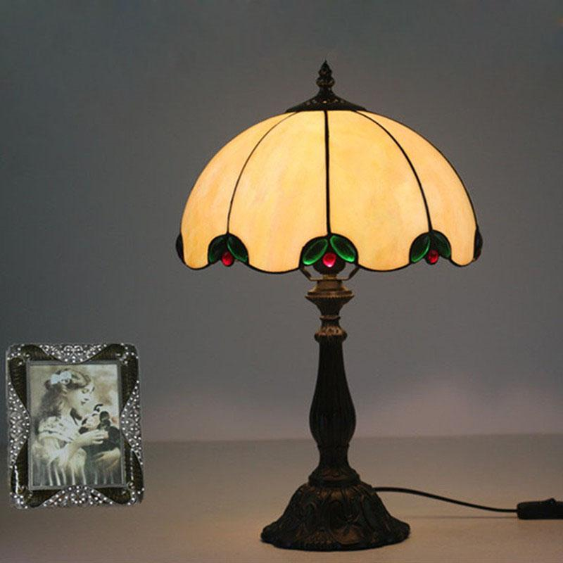 2019 Table Lamp European Style Vintage Table Light Glass Tiffany ...