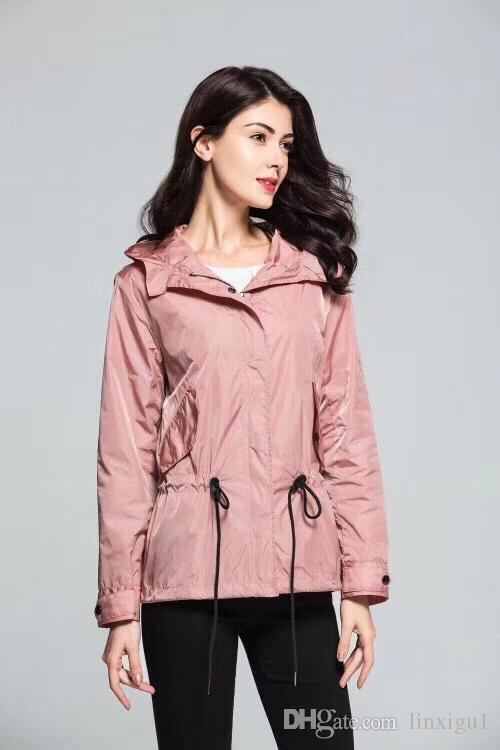 43542160a Women's hooded windbreaker short spring and autumn coat solid color  waterproof fashion simple British wind trench coat