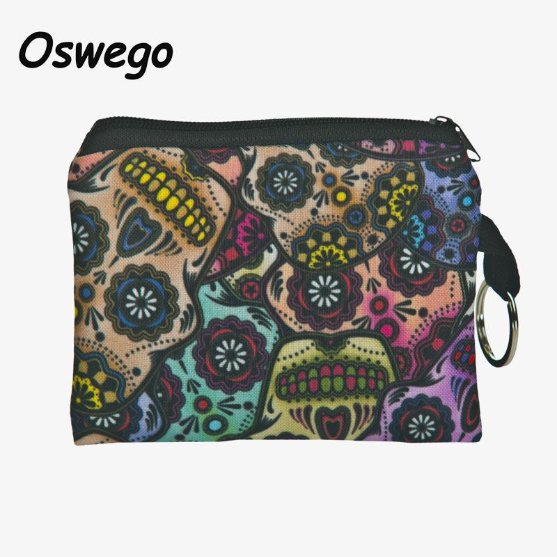 Wholesale- Unisex 3D Printing Mexico Skull Pug Dog Cat Multi Style Coin Purse Wallet Phone Key Pouch Bag Mini Change Purses Wallets