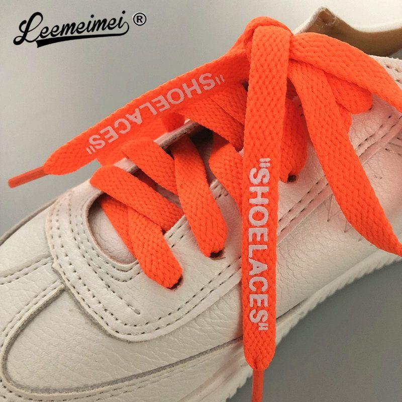 7128a22450d92 120cm Hot SHOELACES Single Layer Flat Laces Print Letter OW Shoe lace For  Sneakers Boots Black White Green Orange Shoelaces