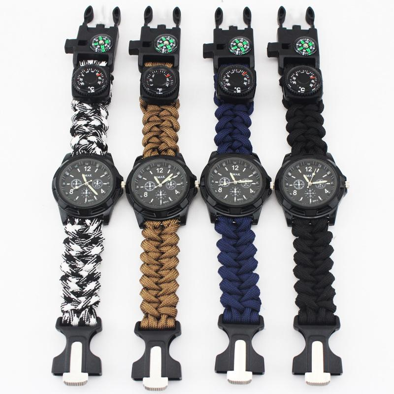 Outdoor Camping Hiking Riding Survival Watch Multi-functional Tool Compass Thermometer Rescue Rope Paracord Equipment Tools kit