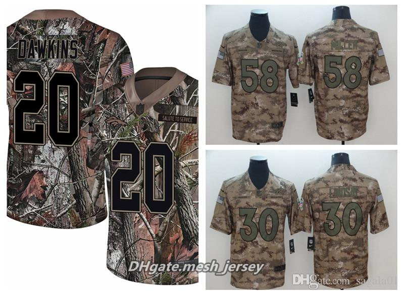 detailed pictures d1cb7 984e0 Men Denver Broncos Jersey 30 Phillip Lindsay 88 Demaryius Thomas 20 Dawkins  Camo Salute to Service Limited Football Stitching Jersey