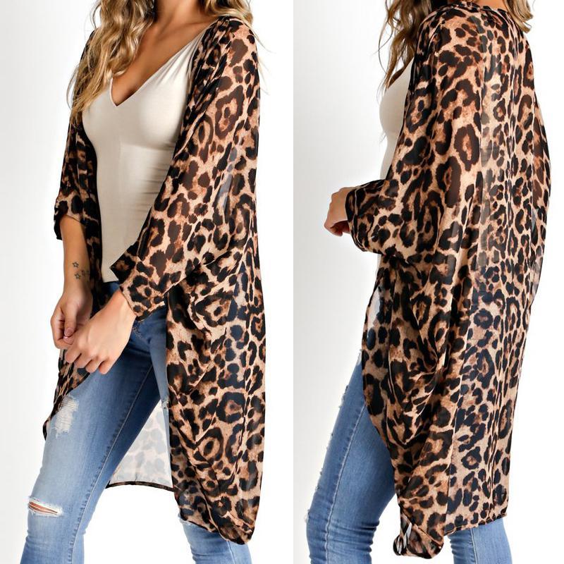c86de8c5832 2019 Celmia Plus Size 5xl Women Long Vintage Kimono Cardigan Leopard Printed  Blouse 2019 Casual Loose Beach Cover Up Summer Top Shirt C19042101 From  Shen07