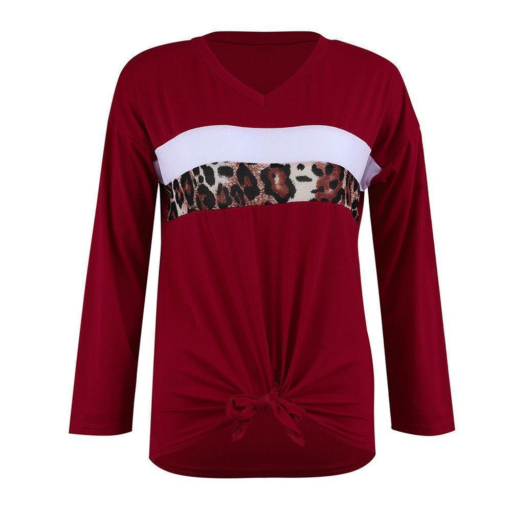 01ae93aacc09d4 Acquista T Shirt Casual Da Donna A Maniche Lunghe Con Scollo A V A Maniche  Lunghe Scollo A V Da Donna T Shirt Allentate Rosse Blu A $27.5 Dal Jamie14  ...